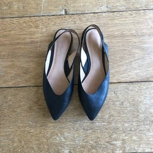 Madewell black pointy toed sling back flats 🖤